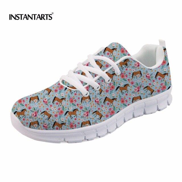 Zapatos planos de malla para mujeres ocio instantates lindos zapatos flores caballo árabe niñas