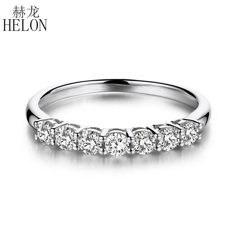 HELON 925 Sterling Silver Moissanites Ring 0.7CT GH Color Engagement Ring Test Positive Moissanites Band Diamond Wedding Jewelry