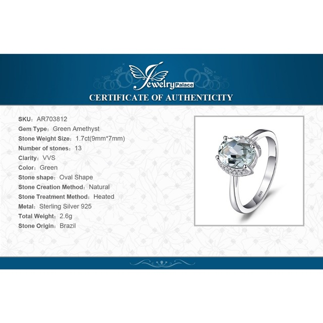 JewelryPalace Brand Oval 1.8ct Natural stone Green Amethyst Engagements Rings For Women Real 925 Sterling Silver Vintage Jewelry
