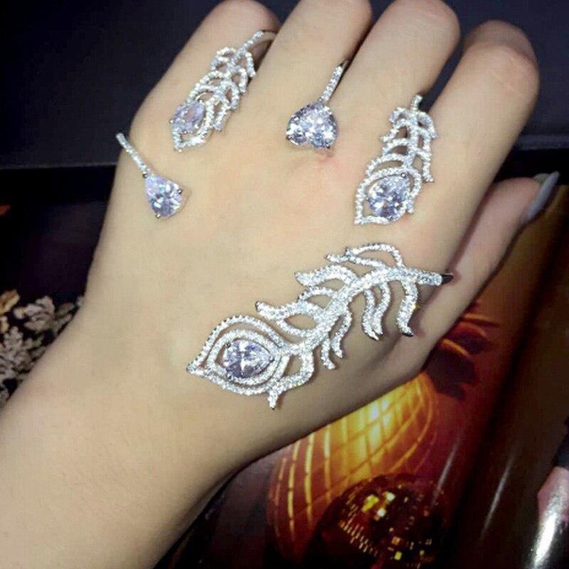Bracelet de luxe en cristal argent plume Bracelet de paume femmes fille couleur or blanc manchette à la main mode brillant strass Bracelet bijoux - 2