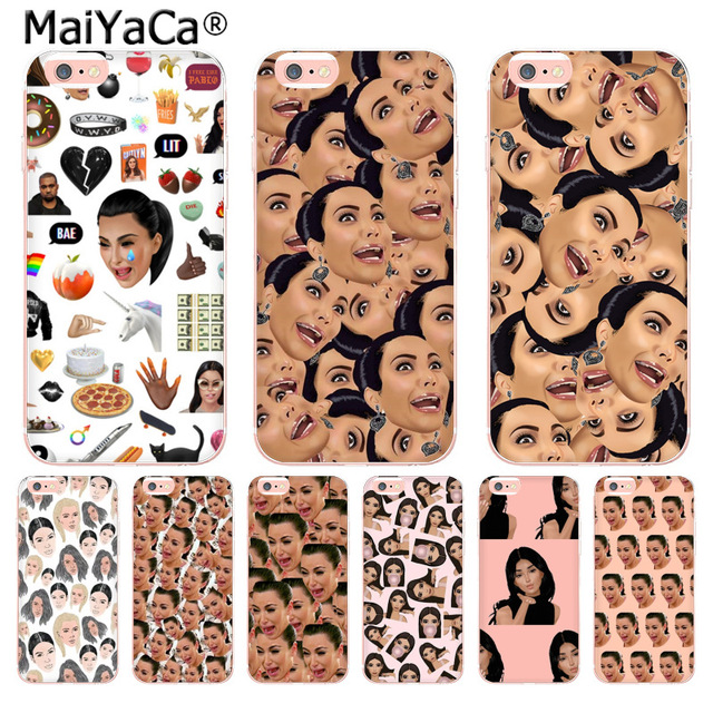 size 40 ff592 537e3 MaiYaCa Funny Face Kimoji Kim Kardashian Soft phone case For iPhone 8 7 6  6S Plus X 10 5 5S SE 5C 4 4S Coque Shell cases 8 plus-in Half-wrapped Case  ...