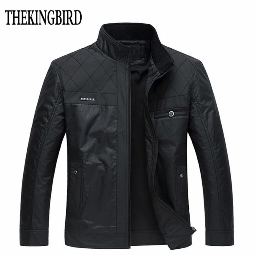 Winter Men Black Jacket Big Size Meeste riided Sügis Õhuke / Paks Polsterdatud Jkackets Mees talve äri Härrasmees jope mantel 4XL