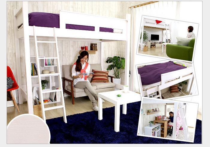 Loft cama de madeira de pinho cama multifuncional cama de - Cama en alto ...