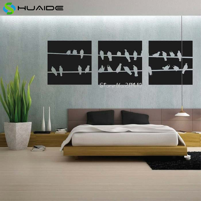 3pcs/set Wall Art Home Decor Birds On Wire Panel Wall Stickers For ...
