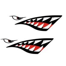 2 قطعة مقاوم للماء DIY بها بنفسك مضحك التجديف Kayak قارب القرش الأسنان الفم ملصقا ملصق حائط من الفينيل ملصقا ل قارب كاياك قارب اليسار واليمين