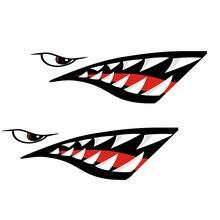 2 Pcs 방수 DIY 재미 있은 조정 카약 보트 상어 치아 입 스티커 카약 카누 보트에 대 한 비닐 데 칼 스티커 왼쪽 & 오른쪽