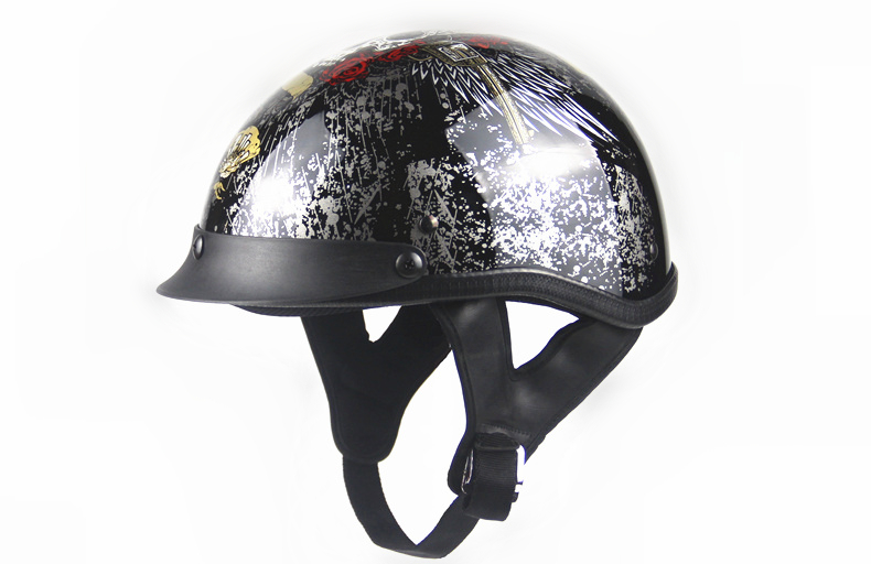 free Shipping Black Adult Open Face Half Leather Helmet Harley Moto Motorcycle Helmet Vintage Motorcycle Motorbike Vespa