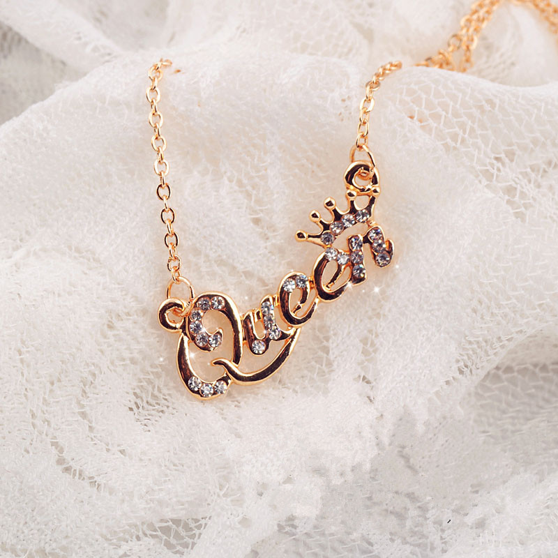 SHUANGR Luxury Gold-Color Queen Crown Chain Necklace Zircon Crystal Necklace Women Fashion Jewelry Birthday Present Ямча