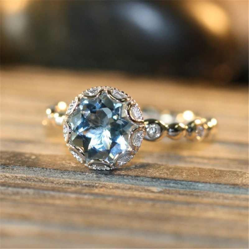ส่วนบุคคลคริสตัลหมั้นแหวน AAA Cubic Zirconia Silver สีนิ้วมือ aquamarine อัญมณีแหวนเงิน 925