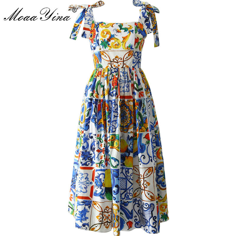 MoaaYina Fashion Runway Custom Summer Cotton Dress Women s High Quality Painted Pottery Printed Bow Spaghetti