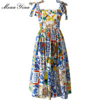 MoaaYina Fashion Runway Custom Summer Cotton Dress Women's High Quality Painted Pottery Printed Bow Spaghetti Strap Party Dress