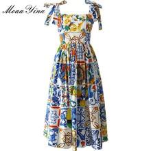 MoaaYina moda pist özel yaz pamuk elbise kadın yüksek kaliteli boyalı çömlek baskılı yay spagetti kayışı parti elbise