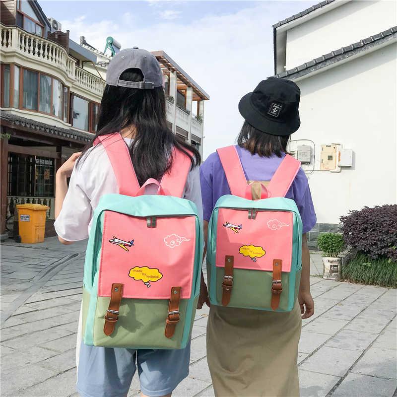 83079cc17f Tuladuo Canvas Backpack Female Laptop Backpack Schoobag for Teenage Girls  Cartoon Printing Backpacks Patchwork Mochila Escolar