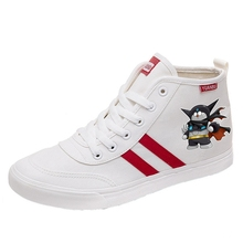 Doraemon Cartoon pattern Funny Dingling Cat high top breathable canvas uppers sneakers student personalise fashionCasual shoes