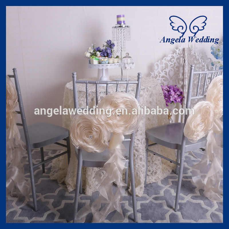 CH091C Элегантные Необычные Свадебные украшения ручной работы из органзы стул цвета шампанского цветок с поясом