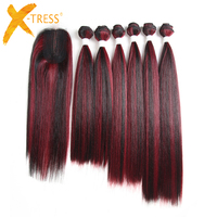 Mixed Black Red Color Straight Hair Weaves 6 Bundles With Lace Closure X TRESS Synthetic Hair Weft Extensions 14 18inch One Pack