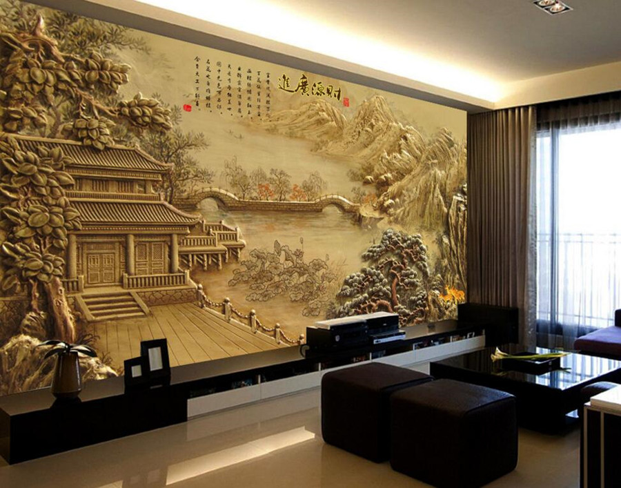 Custom 3d murals wallpaper,Classical Pavilion landscape relief TV background wall,living room sofa wal bedroom papel de parede large mural papel de parede european nostalgia abstract flower and bird wallpaper living room sofa tv wall bedroom 3d wallpaper
