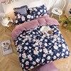 Winter Bedding Set Warm Blue Flower Cotton Crystal Velvet Duvet Cover Feather King Queen Bed Sheet