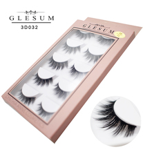 Glesum 5 pairs Faux 3D Lashes Natural Long False Eyelashes Volume Fake Makeup Extension With Free Shipping