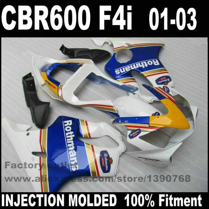 Bodywork Injection Molded for HONDA CBR 600 F4i fairings 01 02 03 CBR600 2001 2002 2003 black blue white fairing kit RE68 injection molded parts for honda cbr 600 f4i fairings yellow black 2001 2002 2003 cbr600 f4i 01 02 03 motorcyle fairing kit hg5