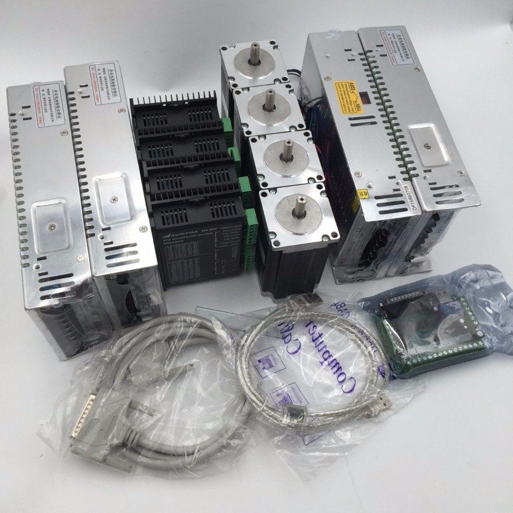 NEMA34 1161oz.in 4Axis Stepper Motor L114mm 4pcs Stepper Motor Driver+4pcs Power Supply+5Axis Breakout Board for CNC Router Set intelligent cnc 4 axis tb6600 stepper motor driver board 5a adjustable dc 12 48v power supply sm578 sd