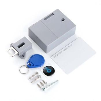Karta elektroniczna czujnik cyfrowy RFID szuflada zamek na kartę DIY elektroniczny niewidoczny ukryty zamek meblowy do szafki RFID tanie i dobre opinie nony-CL-23 86*63*29mm Cabinet lock cabinet drawer woodworking Password Locks hidden lock with IC card Grey