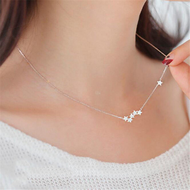 Silver plated cz diamond star pendant necklaces simple shining lady silver plated cz diamond star pendant necklaces simple shining lady fine jewelry gifts clavicle thin chain aloadofball Gallery