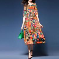 2019 M 3XL Plus Size New Spring Summer Silk Dress Chinese Style Dress High Quality Loose Print Party Women's Dress Female