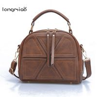Longmiao Women Splicing Messenger Bags Famous Brand Small PU Leather Retro Ladies Crossbody Bag Vintage Patchwork