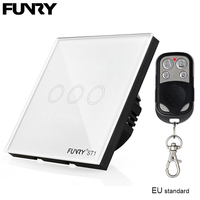 1gang 1way Smart Switch FUNRY White Black Golden Pearl Crystal Glass Panel UK Switch Remote Control