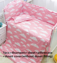 Promotion! 6/7PCS Cartoon Baby bedding set baby bedding set baby bed sets Cot bumper  , 120*60/120*70cm