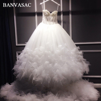 BANVASAC 2018 Vintage Strapless Plus Size Ball Gown Wedding Dresses Real Photos Lace Flowers Chapel Train