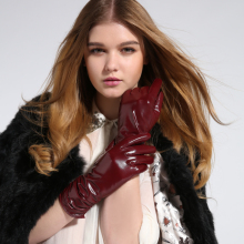 Genuine leather gloves women's winter suede gloves long design gsl005 women's