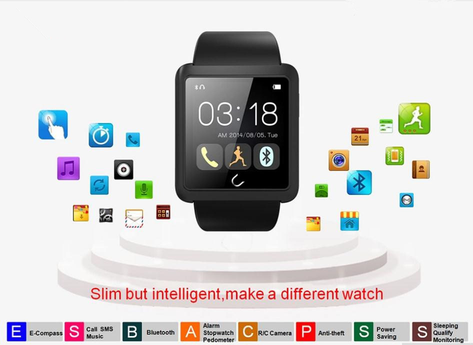 2016 font b Smartwatch b font Bluetooth Sleep Tracker U Smart Watch U10L WristWatch Digital Sport