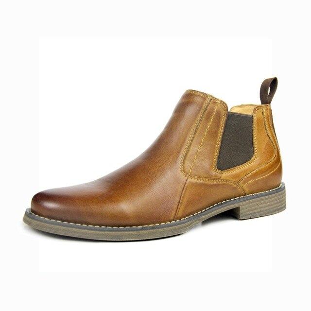 OTTO más nuevos 2018 hombres botas estilo británico vaca cuero genuino  Chelsea botas Casual zapatos de 9bd65b5caf5