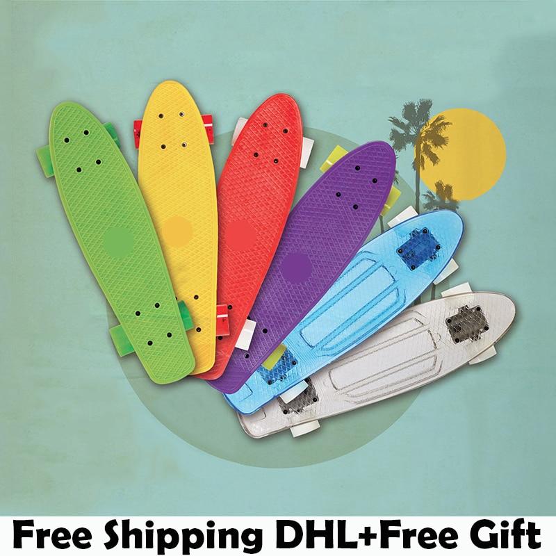 Prix pour 2015 nouvelle multicolore peny planches à roulettes conseil complète rétro elektroscooter Mini Longboard Skate poissons planche à roulettes livraison gratuite