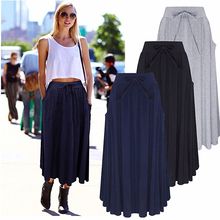 Womens Fashion Soft Silolid Color Casual Gypsy Long Maxi Dress Loose Bust Skirt