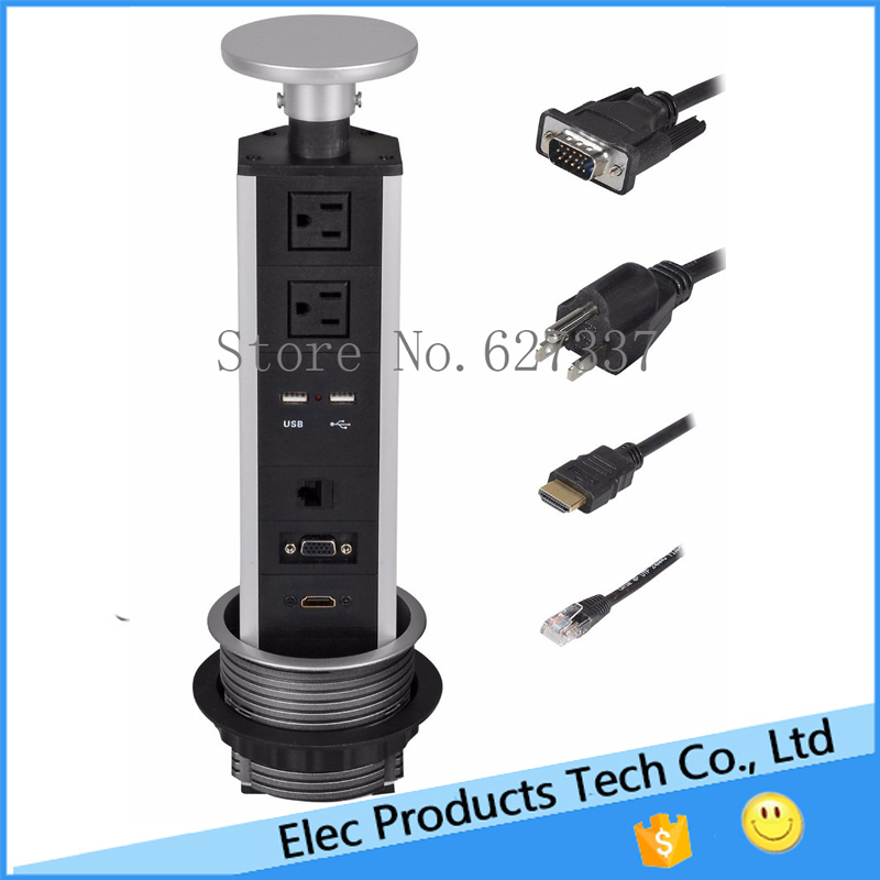 Exceptional Pulling Pop Up Power Socket Power Strips Outlet Surge Protector 2 US Plugs  +2 USB