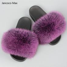 √ Jancoco Max 2017 Real Fox Меховые Тапочки Женская Мода Весна Лето Осень Домой Горки Крытый