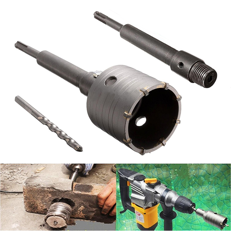 New 58mm Concrete Drill Bit Wall Hole Saw Cutter Set Brick Cement Stone 200mm Rod With Wrench 4 in 1 kit 65mm concrete drill bit with wall hole saw cutter brick cement stone 200mm connecting rod with wrench