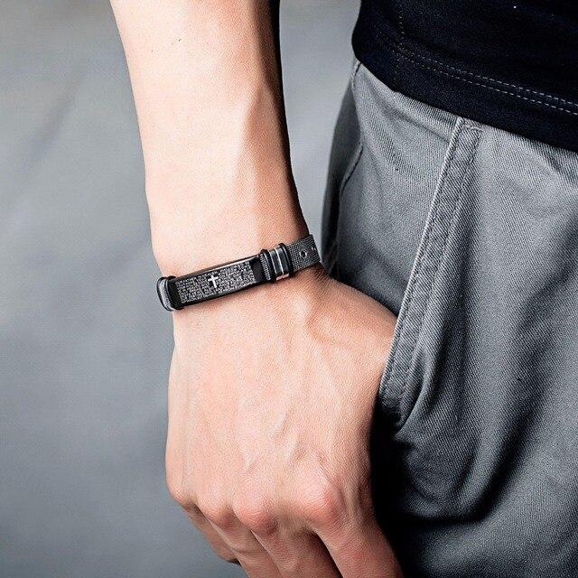 Купить мужской браслет из нержавеющей стали серебристого цвета с крестом