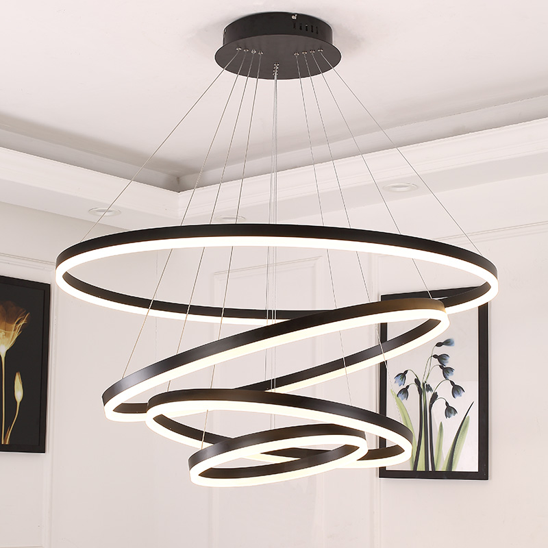 40-60-80-100CM Fashional Modern LED chandeliers for Living Dining room DIY Hanging Lighting circle rings for indoor lighting