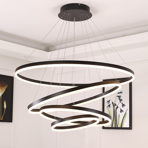 Image 2 - 40/60/80CM Rings Fashional Modern LED chandeliers for Living Dining room DIY Hanging Lighting circle rings for indoor lighting