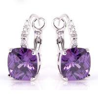 JROSE Goodly Elegant Amethyst  White Topaz 925 Silver Dangle Hook  Cilp Earrings Fashion Jewelry Wholesale Free Shipping