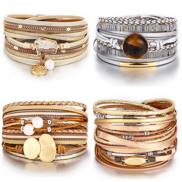IF YOU Fashion Pearl Multilayer Leather Vintage Charm Pendant Bracelets