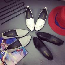 NIS Женщины Поскользнуться На Обувь Femme Черный/Белый/Серый Лакированной Кожи Мокасины Дамы Весна Острым Носом Квартиры Повседневная PU Zapatos Mujer
