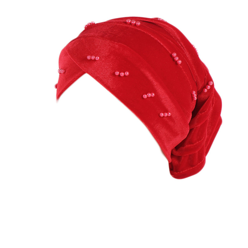 New Fashion Women Autumn Winter Muslim Beading Pearl Ruffle Hat Beanie Scarf Turban Head Wrap Cap  #4F09 (15)