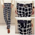 Free Shipping!!! Punk men's New 2015 fashion large black and white plaid slim casual long trousers pencil pants