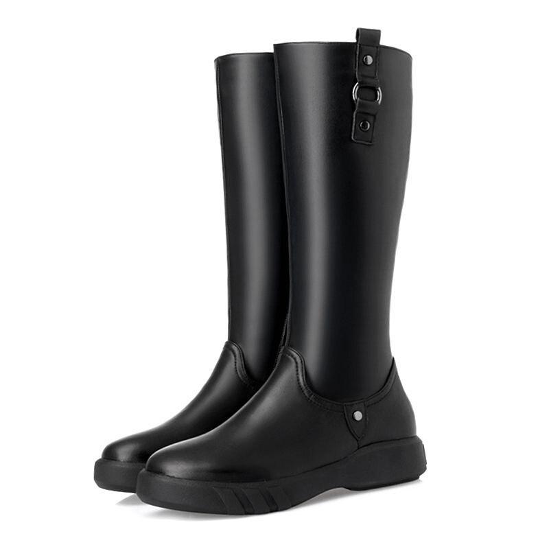 GKTINOO 2019 عالية الجودة الطبيعي الصوف حذاء برقبة للركبة النساء جلد طبيعي سستة بسيطة حذاء مسطح الدافئة الشتاء الثلوج-في بوت للركبة من أحذية على  مجموعة 3