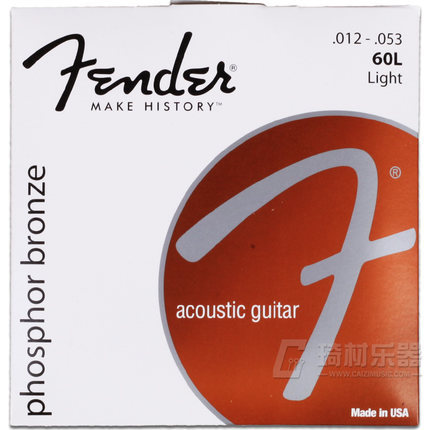 Fender 60L Phosphor Bronze Acoustic Guitar Strings, Light, 12-53